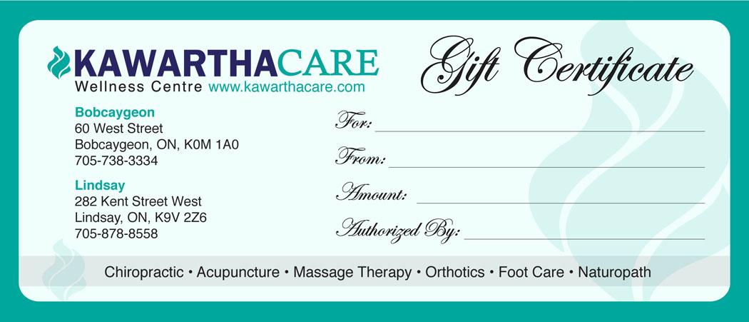 Gift Certificates – Kawartha Care Wellness Centre